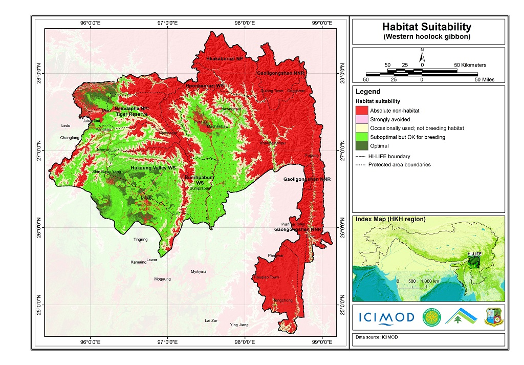 Habitat suitability data for the Western hoolock gibbon