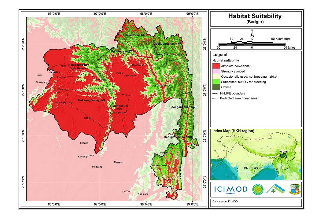 Habitat suitability data for the Badger
