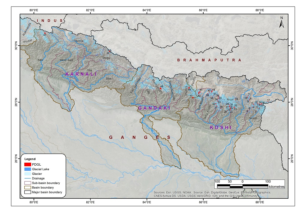 Potentially dangerous glacial lakes in the Koshi, Gandaki, and Karnali river basins of Nepal, the Tibet Autonomous Region of China, and India
