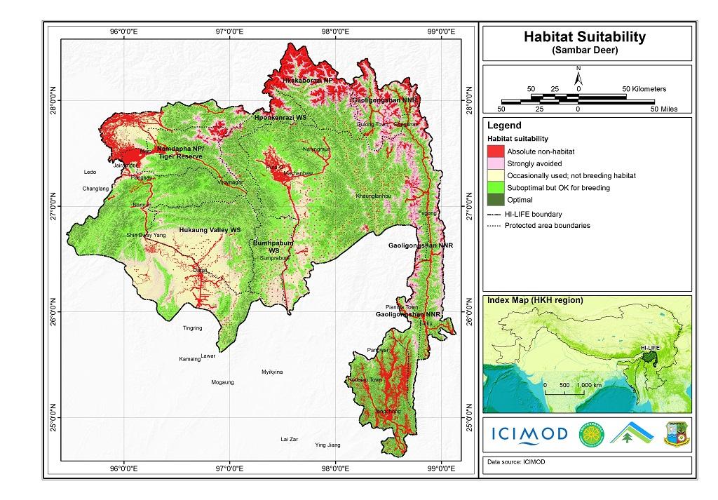 Habitat suitability data for the Sambar deer