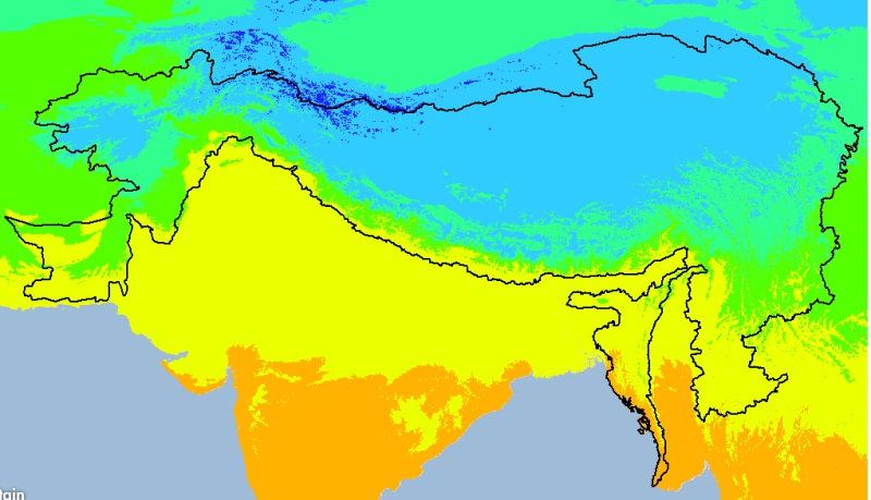 Monthly Mean Temperature Trend (January) 1950-2000 of Hindu Kush Himalayan (HKH) Region