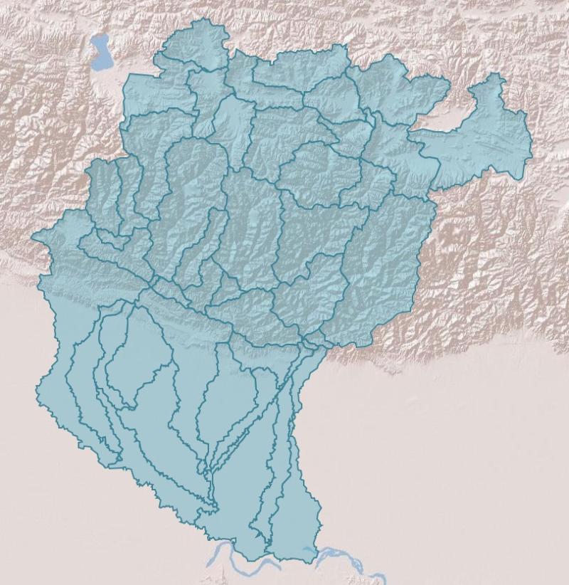 Sub Basin Boundary of Koshi Basin Nepal