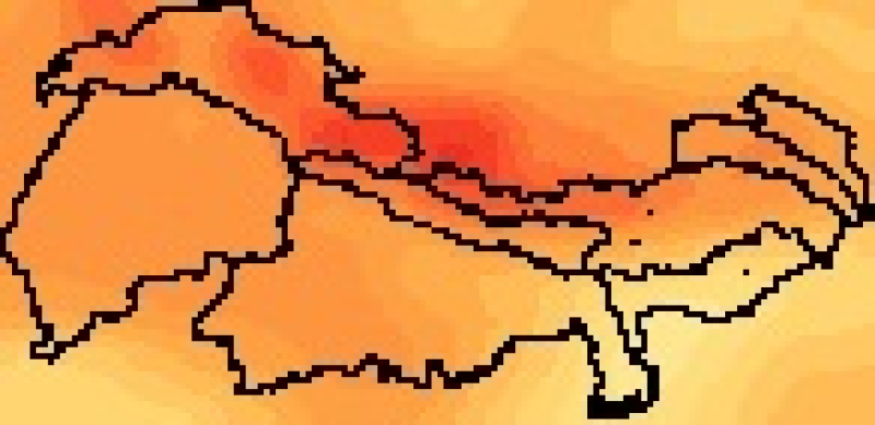 Regional Climate Model(RCM) average delta change values for the four selected GCMS for RCP 4.5, from 2008 to 2050, resolution 25x25 km