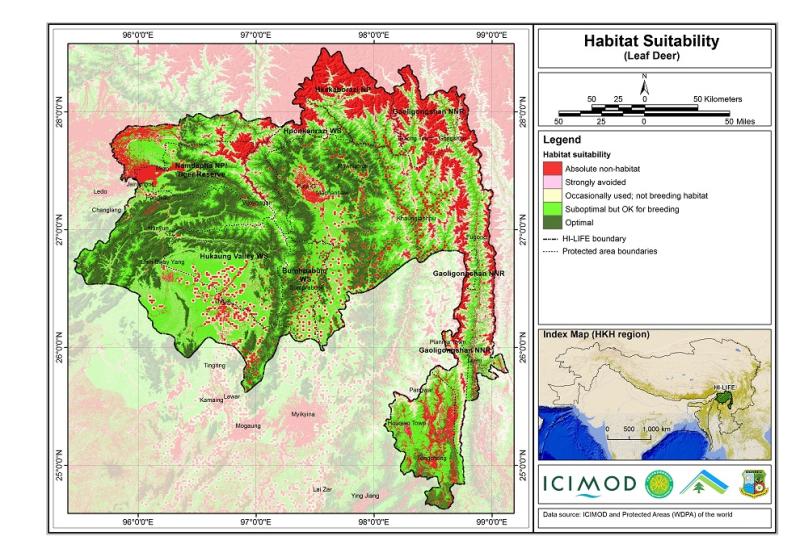 Habitat suitability data for the leaf deer