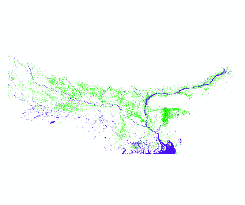 Flood Extent in Nepal, India and Bangladesh for July 2020