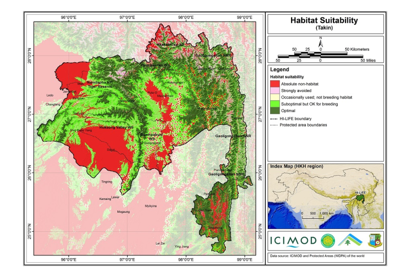 Habitat suitability data for the takin